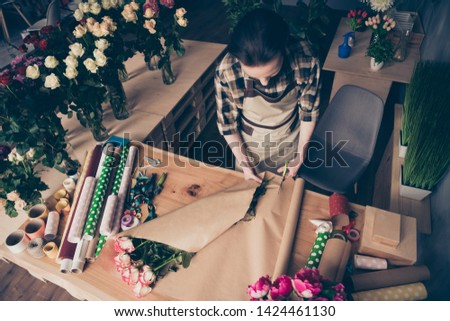 Top above high angle view photo of stylish nice cute charming people small business representative us user scissors roses rosebud 8-march dressed checked shirt clothing glasshouse hobby #1424461130