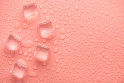 Top above overhead close up view photo image of ice cubes on pastel pink backdrop