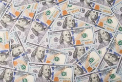 Top above overhead view photo of lot of american new paper dollars