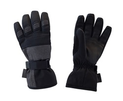 Top and back view of black gloves isolated on white background. Sport accessories for ski and snowboarding