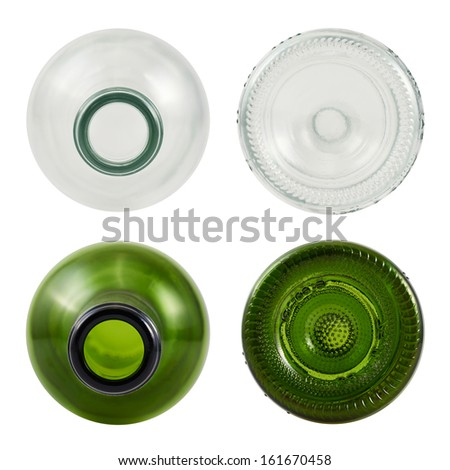 Top and bottom sides of glass bottle isolated over white background, set of green and transparent bottles