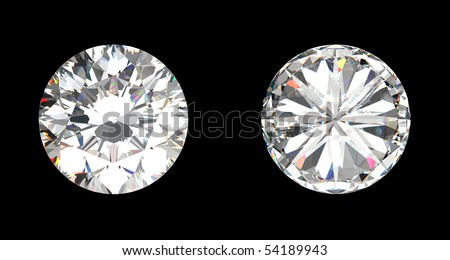 top and bottom view of large diamond over the black background