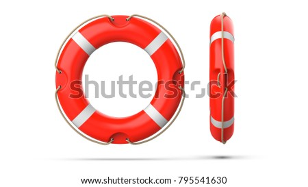 Top and side view of lifebuoy, isolated on a white background with shadow. 3d rendering set of two red life ring buoy. Stok fotoğraf ©