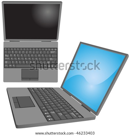 Top and side views of a laptop computer with key labels on keyboard and copy space on screen.