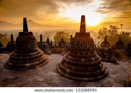 Top Borobudur Temple Yogyakarta Java Indonesia
