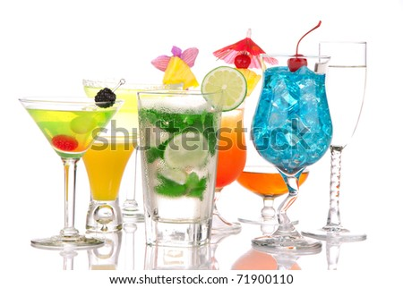Top Cocktails. Many drinks beverages Blue lagoon, mojito; tropical  Martini, tequila sunrise, margarita, champagne and cognac glass, cocktail umbrella, cherry, lime and pineapple on white background