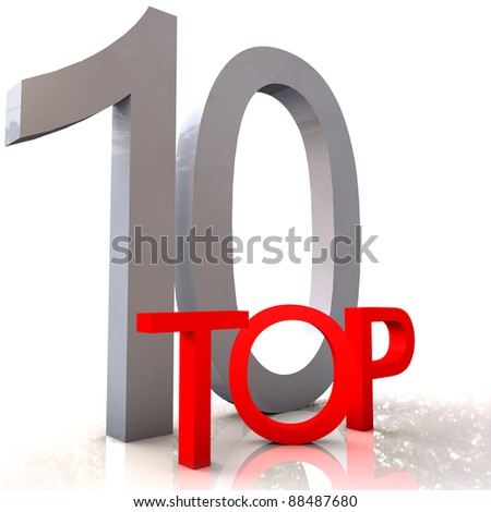 Top 10 concept isolated on white
