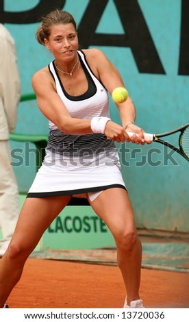 Top Czech's professional tennis player Petra Cetkovska in action during her match at French Open, Roland Garros. Paris, France, 2008.