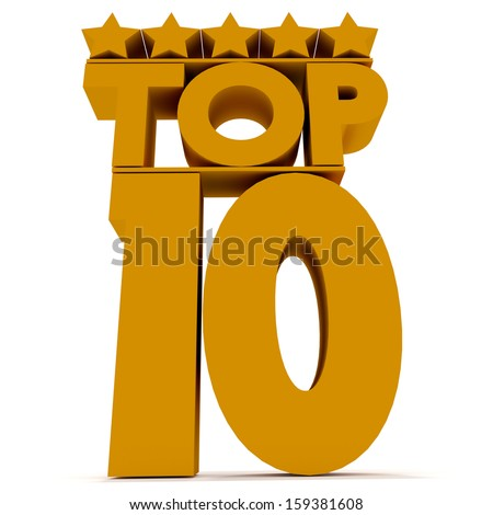 Top10 3d yellow lettering on a white background.