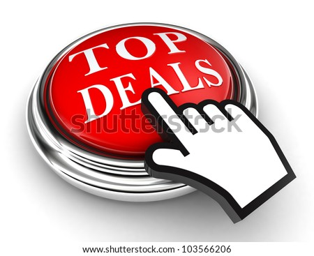 top deals red button and cursor hand on white background. clipping paths included - stock photo