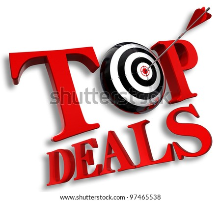 top delas red logo with conceptual target and arrow on white background clipping path included