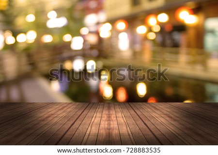 top desk with blur restaurant background #728883535