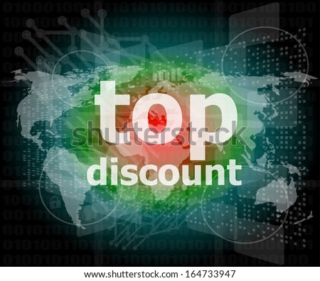 top discount word on digital touch screen - stock photo