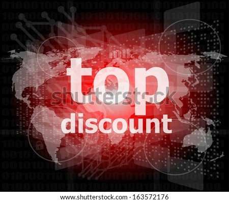 top discount word on digital touch screen, raster