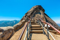 Top dome in Sequoia National Park hiking to Moro Rock Trail of Sequoia National Park. Summer travel holidays in United States of America, Californian road trip.