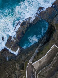 Top down aerial view of Bogey Hole, Newcastle, Australia.