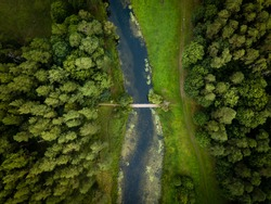 Top down aerial view of forest and river Tervete in Tervete nature park. Tourist attractions in Latvia.