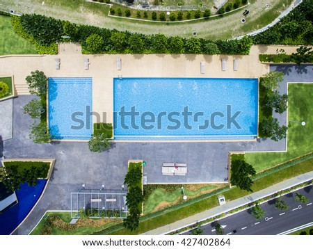 detail top down aerial view of rectangle swimming pool 427402864 - Rectangle Pool Aerial View