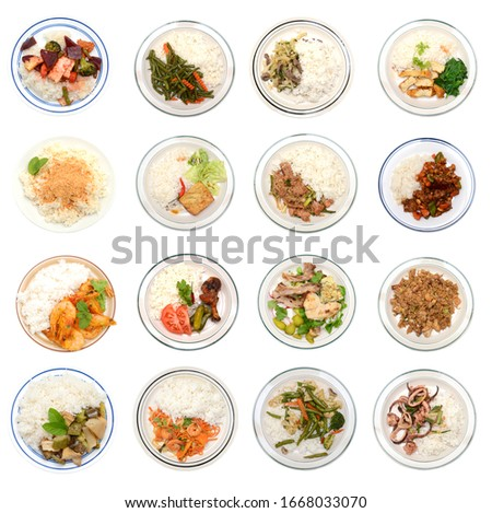 Top down, Vietnamese rice plate cuisine collecton Foto stock ©