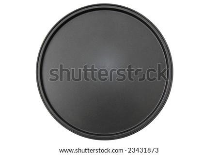 Top down view of a round pizza pan