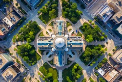 Top down view of Capitol Building and park in Madison Wisconsin