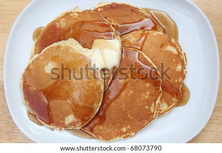 Top Down View of Pancakes With Butter and Syrup