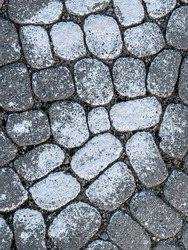 Top-down view of rough, rounded, dark grayish blue paving stones with white paint, probably spray paint, on a public street in morning sunlight, for background or element
