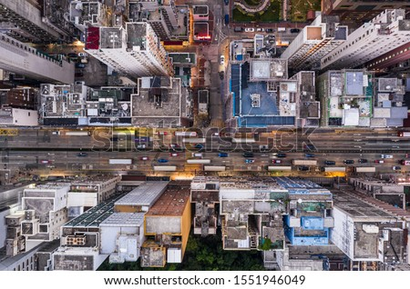 Top down view of the famous Nathan Road in Yau Ma Tei district in Kowloon, a densely populated district in Hong Kong Stok fotoğraf ©