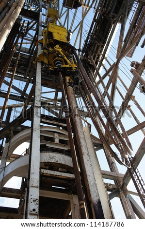 Top Drive System (TDS) in Derrick of Oil Drilling Rig