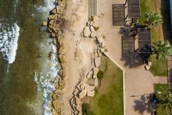 Top drone  view of the sea promenade on Bat Galim Beach in Haifa