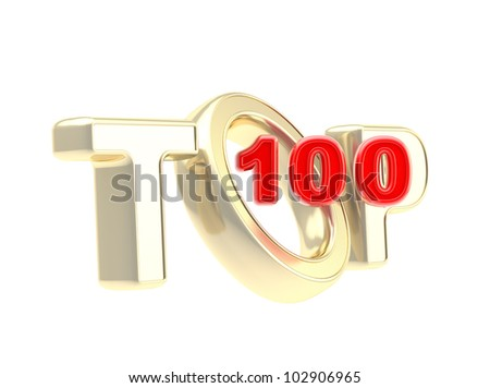 Top 100 emblem symbol isolated on white