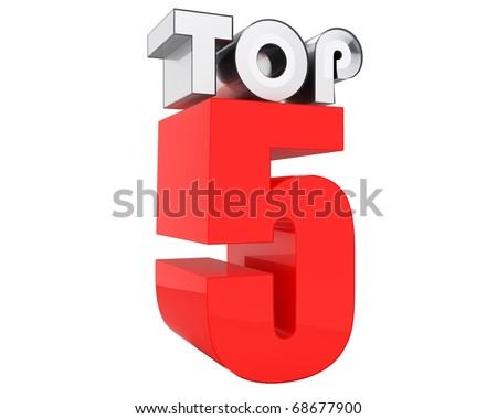 top five chart sign isolated on white background