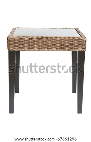 top glass wood table isolated white