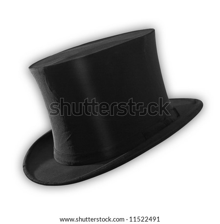 Top hat isolated on white, path included