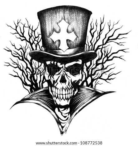 Skulls With Top Hats Skull With Top Hat Drawings