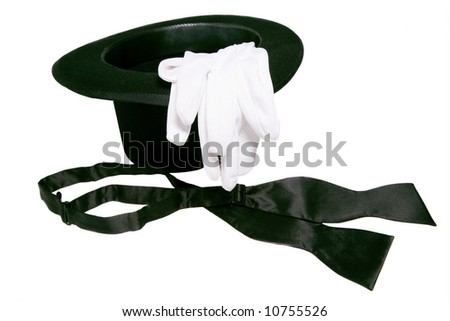 top hat white gloves and black bow tie isolated on background