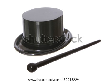 Top hat with a black cane isolated on white background