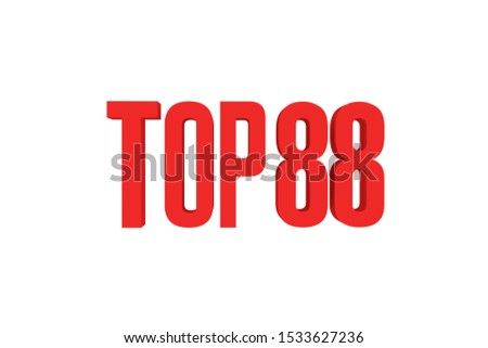 Top 88 in red color isolated on white color background, 3d illustration.