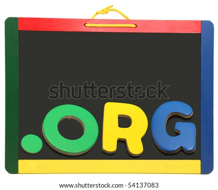 Top Level Domain Dot BIZ spelled out with wooden letters on chalkboard