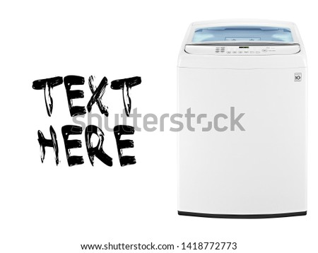 Top Load Washing Machine Isolated on White Background. White Top Loader Washer Machine with Electronic Control Panel Front View. Household Appliance. Domestic Major Appliances #1418772773