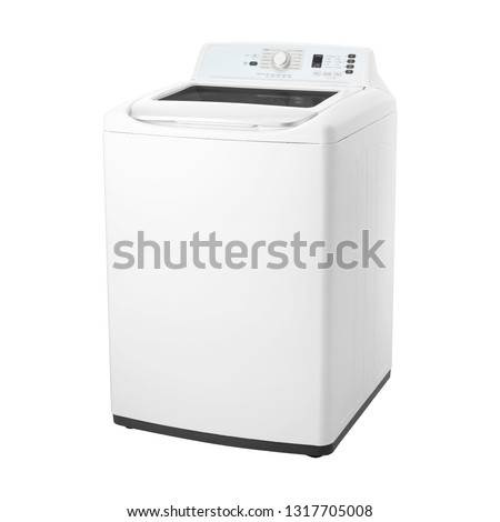 Top Load Washing Machine Isolated on White. Domestic and Household Appliances. Home Innovation. Side View of White Fully Automatic Top Loading Washer with Integrated Control Panel