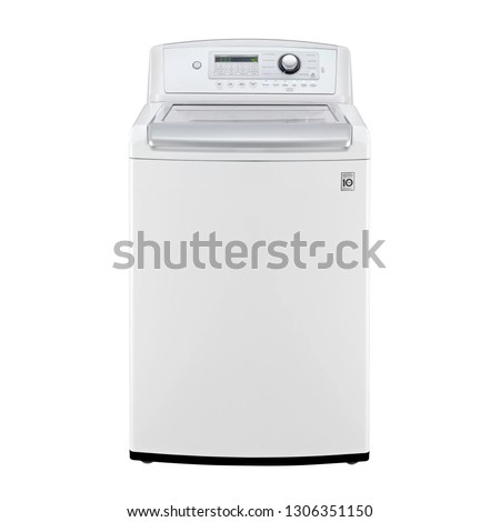Top Load Washing Machine Isolated on White. Front View of White Fully Automatic Top Loading Washer with Integrated Control Panel. Domestic and Household Appliances. Home Innovation