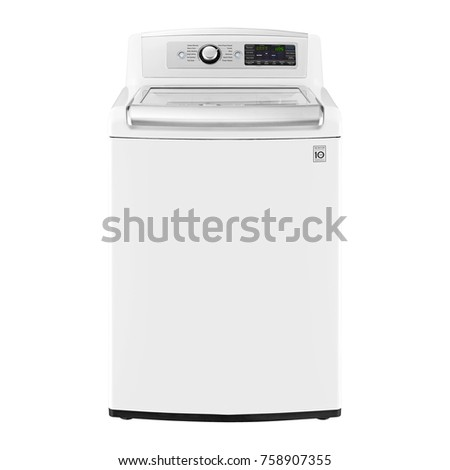 Top Loader Washing Machine Isolated on White Background. Front View of White Free Standing Washer with Electronic Control Panel. Domestic Appliances #758907355