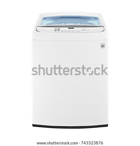 Top Loader Washing Machine Isolated on White Background. Front View of White Washer Machine. Top Load Washing Machine with Electronic Control Panel. Domestic Appliances. Household Appliances #743323876