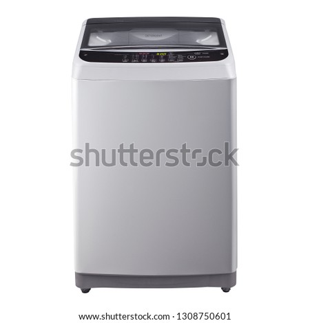 Top Loader Washing Machine Isolated on White Background. Household Appliances. Front View of Stainless Steel Top Load Washer Machine with Electronic Control Panel