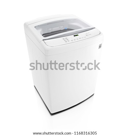 Top Loader Washing Machine Isolated on White Background. Side View of White Washer Machine. Top Load Washing Machine with Electronic Control Panel. Domestic Appliances. Household Appliances #1168316305