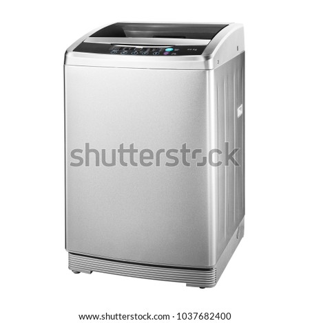 Top Loading Washing Machine Isolated on White Background. Side View of Stainless Steel Freestanding Top Load Washer. Household and Domestic Appliances.  #1037682400