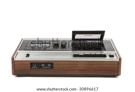 Top Low Angle View of Vintage Audio Cassette Player on White Background