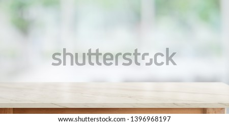 Top marble counter table in kitchen room background