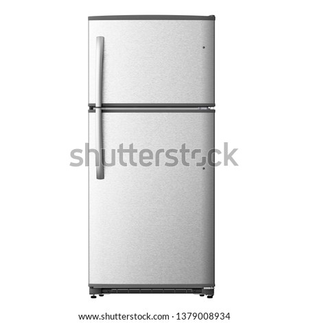 Top Mount Refrigerator Isolated on White. Front View of Stainless Steel Double Door Fridge. Full Frost Free Freezer. Modern Kitchen and Domestic Major Appliances